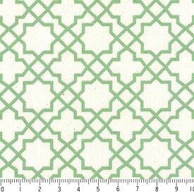 アラベスク ポジ 7556-40 グリーン モロッカン モロッコ ダマスク アラベスク 緑 グリーン 10cm単位 やや厚手 生成りオックス生地 綿100% 110cm 布 カルトナージュ 生地 商用利用可 生地