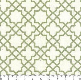 アラベスク ポジ 7556-48 オリーブグリーン モロッカン モロッコ ダマスク アラベスク 緑 グリーン 10cm単位 やや厚手 生成りオックス生地 綿100% 110cm 布 カルトナージュ 生地 商用利用可 生地