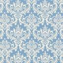 ダマスク柄 生地  6991-49 SKY BLUE スカイブルー damask アラベスク 生地 布 生成り オックス 生地 綿100% 110cm…