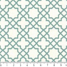 アラベスク ポジ 7556-52 ターコイスブルー モロッカン モロッコ ダマスク アラベスク 緑 グリーン おしゃれ きれい 10cm単位 やや厚手 生成りオックス生地 綿100% 110cm 布 カルトナージュ 生地 商用利用可 生地