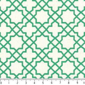 アラベスク ポジ 7556-55 エメラルドグリーン モロッカン モロッコ ダマスク アラベスク 緑 グリーン かわいい 男の子 10cm単位 やや厚手 生成りオックス生地 綿100% 110cm 布 カルトナージュ 生地 商用利用可 生地