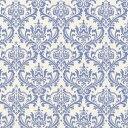 ダマスク柄 生地 7031-58 BLUE ブルー damask アラベスク 生地 布 生成り オックス 生地 綿100% 110cm幅 カルトナージュ生地 nassen