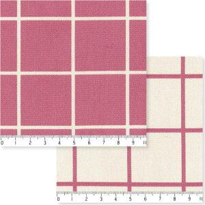 3.8cmピッチ ラインチェック柄 7911-65 グレイッシュピンク スッキリしたラインチェック柄 ピンク おしゃれ 10cm単位 やや厚手 生成りオックス生地 綿100% 110cm 布 入園入学 エプロン バッグ ク