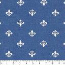 フルール・ド・リス ネガ 7648-77 ROYAL BLUE ロイヤルブルー 生成り オックス 生地 綿100% 110cm幅