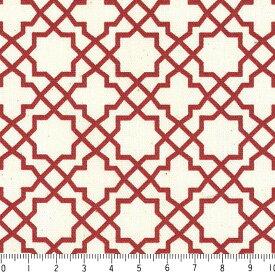 アラベスク ポジ 7556-80 ダークレッド モロッカン モロッコ ダマスク アラベスク 赤 10cm単位 やや厚手 生成りオックス生地 綿100% 110cm 布 カルトナージュ 生地 商用利用可 生地