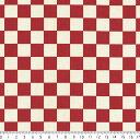 1.6cm 市松模様 7945-80 ダークレッド 可愛いチェッカーフラッグ柄 赤 10cm単位 やや厚手 生成りオックス生地 綿100%…
