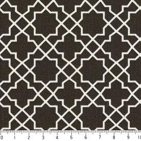 アラベスク ネガ 7555-90 チャコール モロッカン モロッコ ダマスク アラベスク 夜柄 グレー 10cm単位 やや厚手 生成りオックス生地 綿100% 110cm 布 カルトナージュ 生地 商用利用可 生地