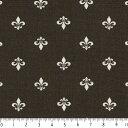 フルール・ド・リス ネガ 7648-90 CHACOAL チャコール カルトナージュの定番 フルールドリス柄 伝統的な紋章のデザイン 生成り オックス 生地 綿100% 110cm幅 布