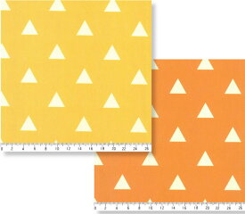 三角柄 AL0331 橙 オレンジ 山吹 イエロー 生地 オックス生地 晒しオックス シーチング生地 綿100% 110cm巾 個数1で10cm単位 30cm以上 鬼滅の刃 我妻 善逸(あがつま ぜんいつ)羽織の柄風 布 和柄 orange yellow マスク 商用利用可