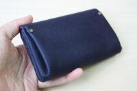 ピッグスキンの小さなお財布ネイビー×ワイン革財布ミニ財布レディース財布