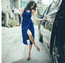 【あす楽 即納】 韓国 ファッション レディース ワンピース 夏 春 カジュアル nalo3666 デニム ミドル丈 タイト オールインワン ジャンパー スリット 韓国 オルチャン ファッション コーデ シンプル 定番 セレカジ 20代 30代 40代 きれいめ 2020