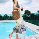 【即納】 韓国 ファッション レディース ワンピース 春 夏 カジュアル 現品限り nalo8659 マキシワンピース リゾートワンピース ハワイ ウエストマーク アメリカンスリーブ キャミ 韓国 オ