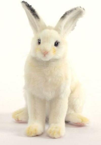 【HANSA】リアルぬいぐるみ白ウサギ 18cm