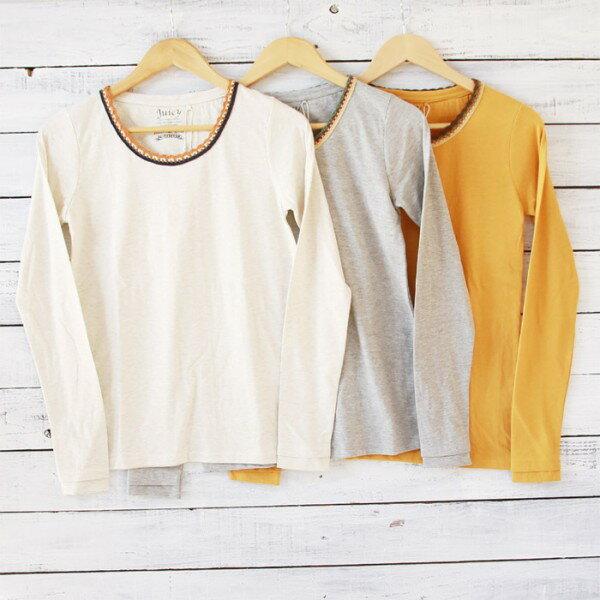 Juicy(ジューシー)2,800⇒2,240(20%OFF)配色かぎ針指穴LSカットソー ロングシャツ ロンT 無地 綿 カジュアル レディース