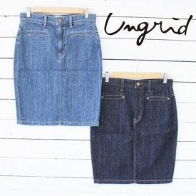 Ungrid アングリッドLady Like デニムミドル丈SK (111430834301)2014新作 タイトスカート 綿