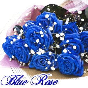 ブルーローズ 青いバラ 花束 ブルーローズの花束 オランダ産  誕生日 お祝い 花 フラワー 結婚記念日 お礼 本数追加OK 開店祝い ブルーローズ10本 かすみ草