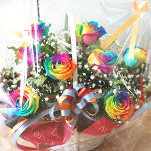 レインボーローズ アレンジ 虹色のバラ 送料無料 オランダ 誕生日 花 フラワー 結婚記念日 お祝い 開店祝い 還暦 長寿祝い 敬老の日 母の日 父の日 豪華 かご バス
