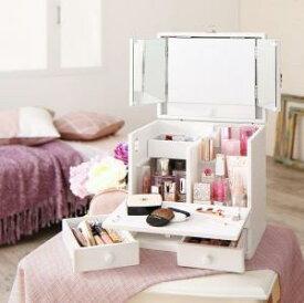 三面鏡付き カラフル木製メイクボックス メイクボックス コスメボックス ドレッサー 鏡台 鏡付き 三面鏡 鏡 化粧品 ヘアアクセサリー 収納 化粧箱 おしゃれ 卓上 ホワイト 白 引き出し 寝室 サニタリー 完成品