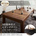 3段階伸長式モダンデザインこたつテーブルAbroaderアブローダー長方形(80×120〜180cm)