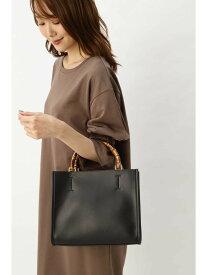 [Rakuten Fashion]バンブーハンドルスクエアトート NATURAL BEAUTY BASIC ナチュラルビューティベーシック バッグ トートバッグ ブラック レッド【送料無料】