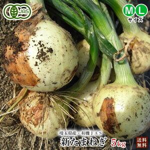 有機玉ねぎ5kg・埼玉県産新たまねぎ・有機栽培(有機JAS)M・Lサイズ【送料無料】