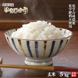 ◆ポイント5倍◆令和元年産 農薬・化学肥料不使用ゆきひかり玄米5kg【送料無料・数量限定品】