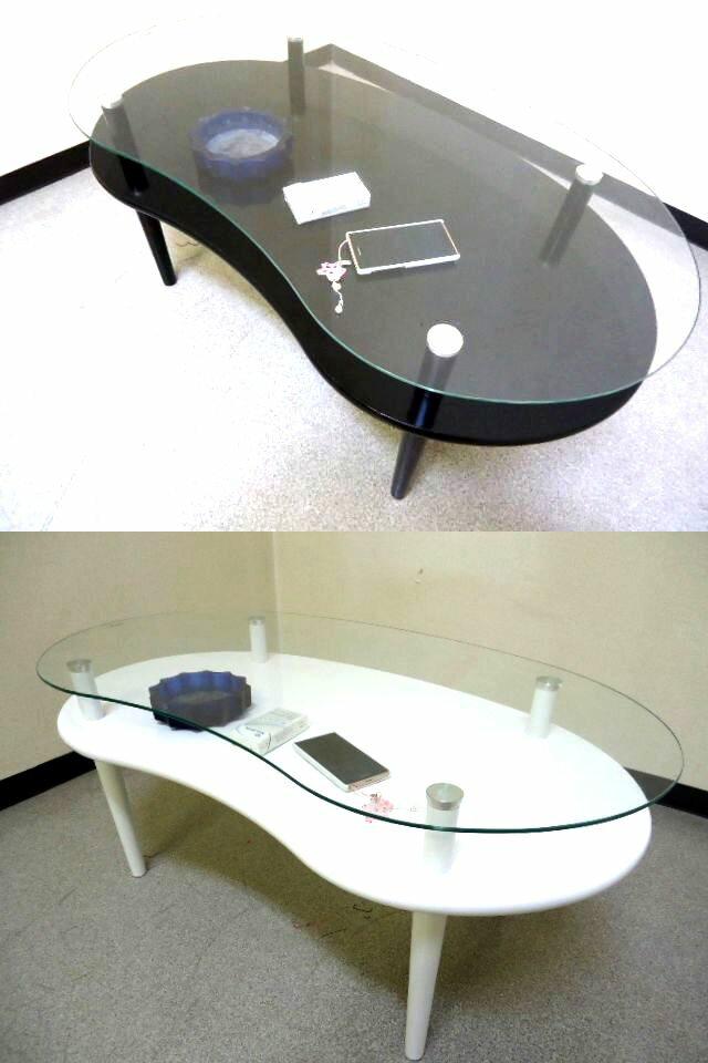 棚 付き ビーンズ 形 ガラス テーブル 幅 90 奥行 49 高さ 39.5 cm ローテーブル センターテーブル リビングテーブル 机 つくえ ちゃぶ台 北欧 おしゃれ かわいい ロー テーブル 強化 ガラス ディスプレイ 棚 付 ガラステーブル ガラス テーブル デスク テーブル 送料無料
