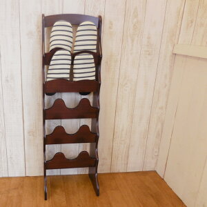 スリッパラック5段木製スリム(約幅28.5奥行19高さ90cm約2.3kgMDFPVCシート貼木目木省スペースコンパクトシンプル軽量スリッパ立て)