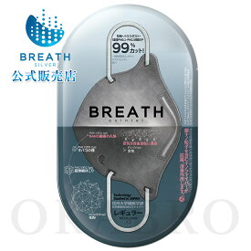 【PM0.1-PM2.5対応】プレミアム ブレスマスク BREATH MASK QUINTET グレーレギュラーサイズ 2枚入 ナノフィルター マスク
