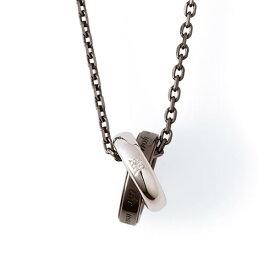 THE KISS ペアネックレス シルバー ネックレス メンズ ペア ダイヤモンド ブラック 50cm ザ・キッス カップル お揃い 誕生日 記念日 祝い メンズ クリスマスプレゼント
