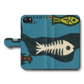 スマホケース 全機種対応 手帳型 ?ィンテージマッチラベル 北欧デザイン 魚 レトロ iPhone8Plus ケース iPhone7Plus おしゃれ 人気 絵画 Xperia XZ1 Compact シンプルスマホ