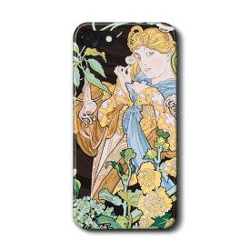 スマホケース アルフォンス ミュシャ 花を持つ女性 ケース カバー iPhone11Pro Max Xperia エクスペリア ギャラクシー アクオス ファーウェイ 名画 絵画 おしゃれ iPhoneXR