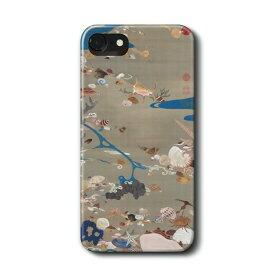 スマホケース 伊藤若冲 貝甲図 動植綵絵 iPhone12 ケース iPhoneXS 絵画 ケース 人気 丈夫 耐衝撃 Xperia10 Google Pixel4 Pixel3a iPhon11 iPhon11Pro iPhoneXR