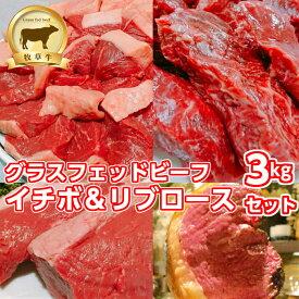 低糖質 赤身肉 イチボ肉&リブロース3kgセット(グラスフェッドビーフ) 送料無料(北海道・沖縄除く)牧草牛 オメガ3脂肪酸 アミノ酸 糖質制限 ランプ肉グラスフェッド(牧草牛)キャンプ アウトドア