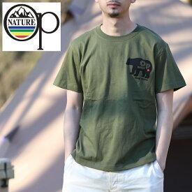 オーシャンパシフィック(Ocean Pacific) 【OP×ナチュラム】5.6オンス プリント Tシャツ くま 横 M カーキ 599008-R