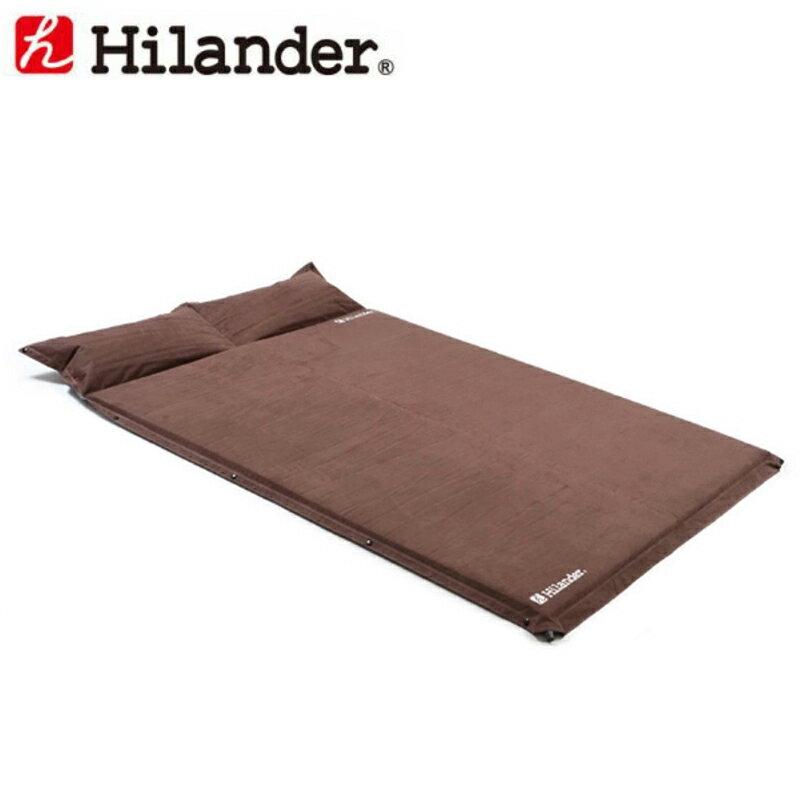 【送料無料】 Hilander(ハイランダー) キャンプ用スエードインフレーターマット(枕付きタイプ) 5.0cm ダブル ブラウン UK-3【あす楽対応】【SMTB】
