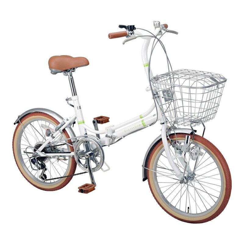 キャプテンスタッグ(CAPTAIN STAG) エリーサ FDB206BAA 折り畳み自転車 20インチ 6段変速 カゴ付 カギ付 20インチ ホワイト YG-267