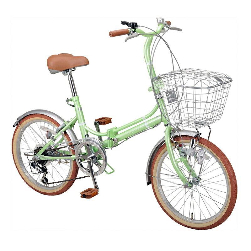 【送料無料】キャプテンスタッグ(CAPTAIN STAG) エリーサ FDB206BAA 折り畳み自転車 20インチ 6段変速 カゴ付 カギ付 20インチ ライトグリーン YG-268【SMTB】