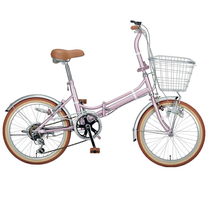キャプテンスタッグ(CAPTAIN STAG) エリーサ FDB206BAA 折り畳み自転車 20インチ 6段変速 カゴ付 カギ付 20インチ ピンク YG-269
