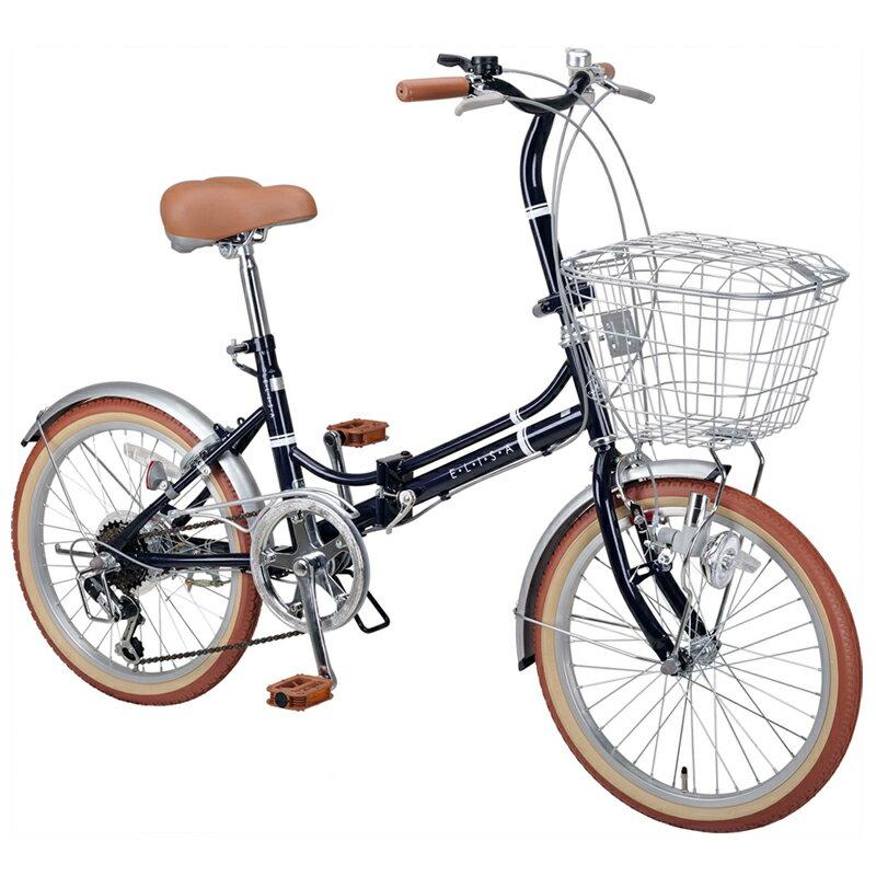 キャプテンスタッグ(CAPTAIN STAG) エリーサ FDB206BAA 折り畳み自転車 20インチ 6段変速 カゴ付 カギ付 20インチ ネイビー YG-270