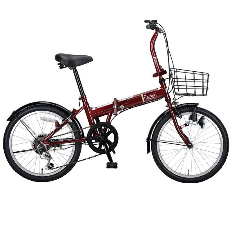 キャプテンスタッグ(CAPTAIN STAG) ラケット FDB206 折り畳み自転車 6段変速 カゴ付 20インチ ダークレッド YG-800