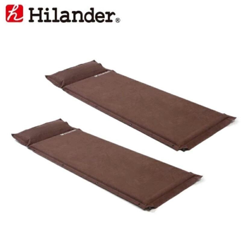 【送料無料】Hilander(ハイランダー) キャンプ用スエードインフレーターマット(枕付きタイプ) 5.0cm【お得な2点セット】 シングル(2本) ブラウン UK-2【あす楽対応】【SMTB】