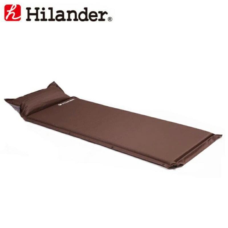 Hilander(ハイランダー) キャンプ用インフレーターマット(枕付きタイプ) 4.0cm シングル ブラウン UK-8【あす楽対応】