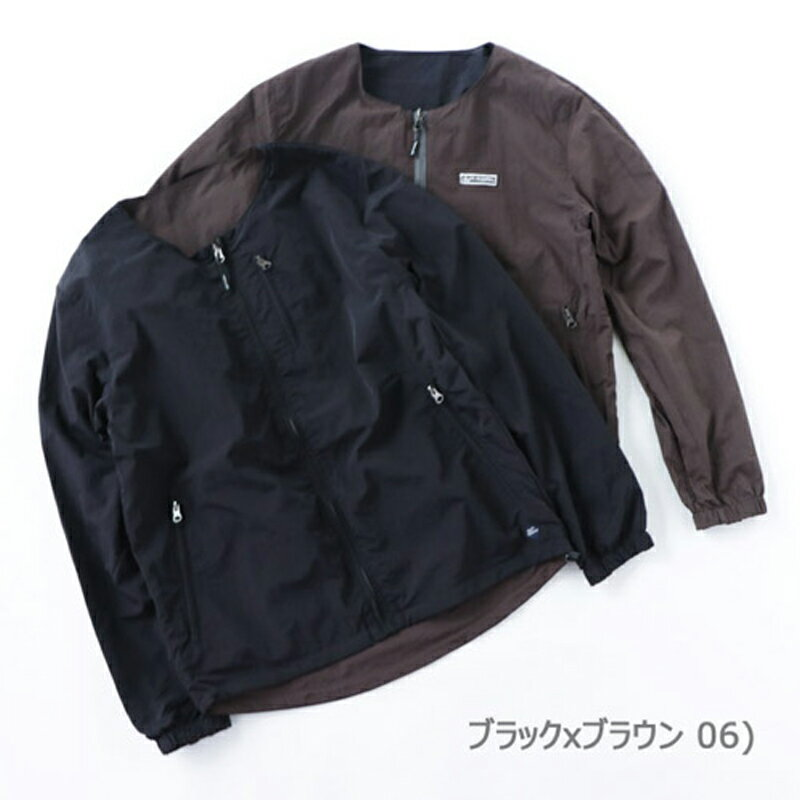 【送料無料】gym master(ジムマスター) リバーシブルノーカラー ジャケット L 06(ブラック×ブラウン) G602377【あす楽対応】