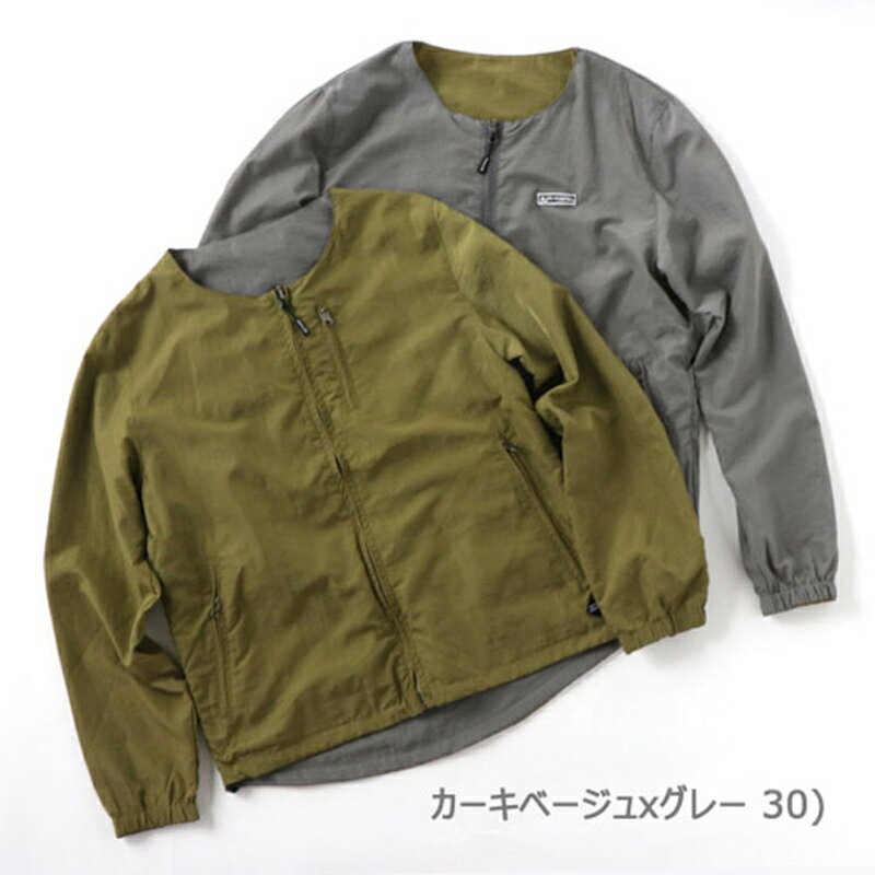 【送料無料】gym master(ジムマスター) リバーシブルノーカラー ジャケット M 30(カーキ×グレー) G602377