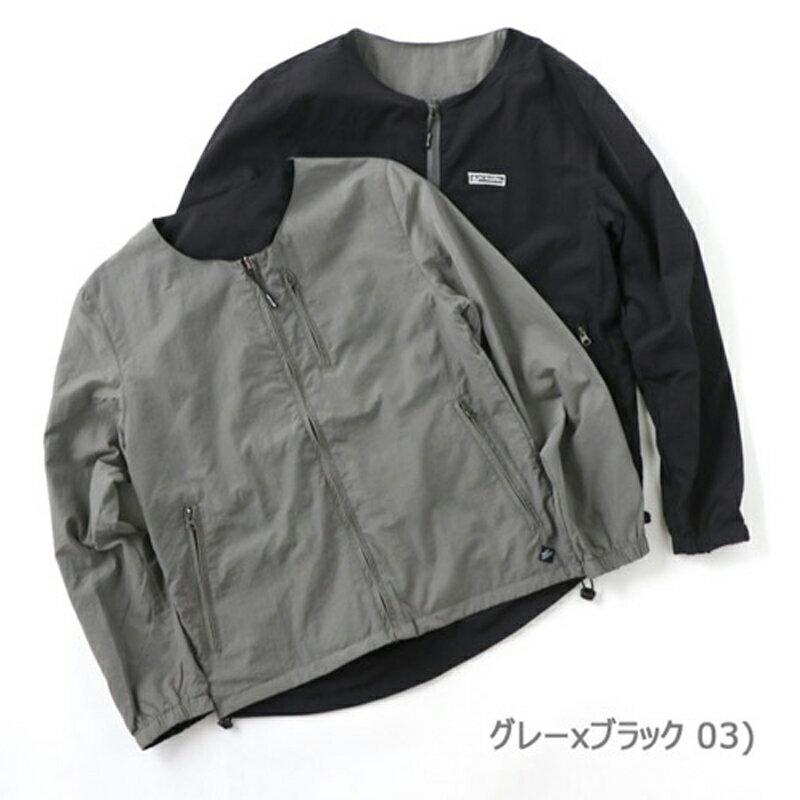 【送料無料】gym master(ジムマスター) リバーシブルノーカラー ジャケット L 03(グレー×ブラック) G602377