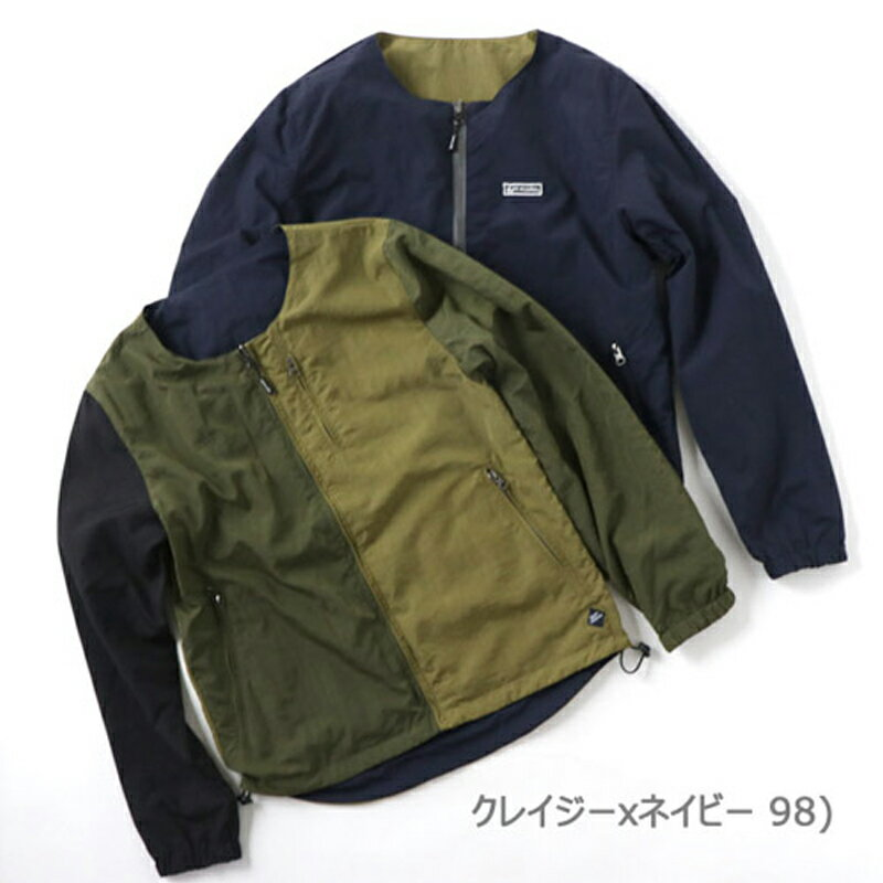 【送料無料】gym master(ジムマスター) リバーシブルノーカラー ジャケット L 98(クレイジー×ネイビー) G602377