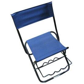 ベイシックジャパン 竿掛け付きパイプ椅子 中 ブルー BF-20047