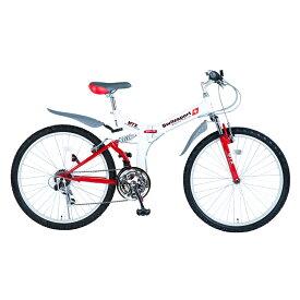 Switzsports(スウィツスポーツ) AIGLE 【エイグル】 フルサスペンション MTB型26インチ折畳自転車 【シマノ18段変速】 ホワイト×レッド MDL31006 【大型商品】