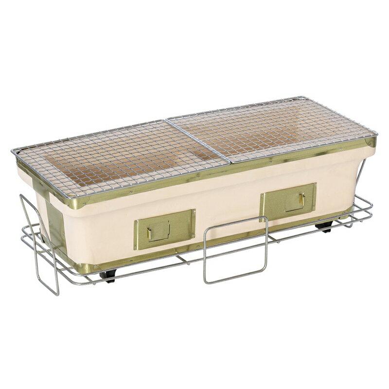 BUNDOK(バンドック) 長角七輪ロング 22×55cm 卓上使用可能のスタンド付き 魚焼けます BD-424